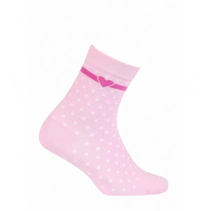 Dívčí vzorované ponožky WOLA TEČKY, SRDÍČKO světle růž