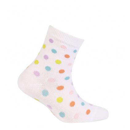Dívčí ponožky WOLA PUNTÍKY bílé