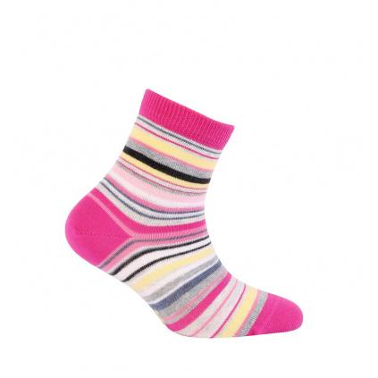 Dívčí vzorované ponožky GATTA PROUŽKY růžové