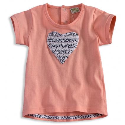 Kojenecké dívčí tričko PEBBLESTONE SRDCE meruňkové