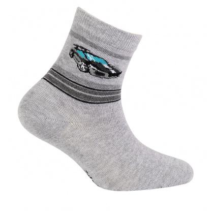Chlapecké ponožky se vzorem GATTA SPORTOVNÍ AUTO šedý melír