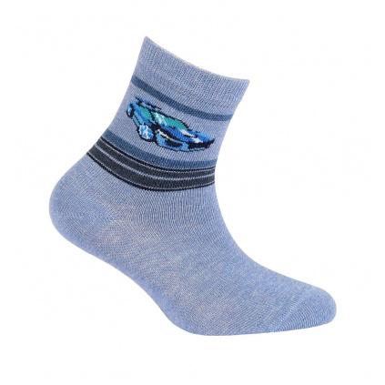 Chlapecké ponožky se vzorem GATTA SPORTOVNÍ AUTO modrý melí