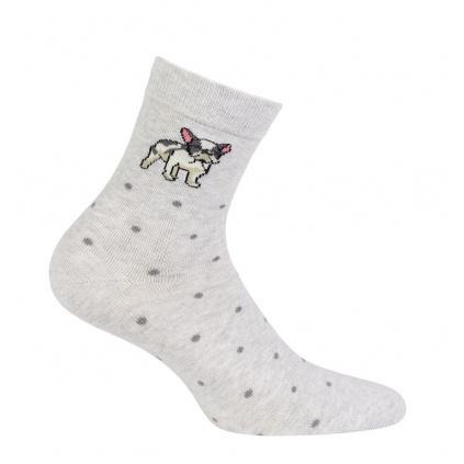 Dívčí ponožky se vzorem WOLA BULDOČEK šedé