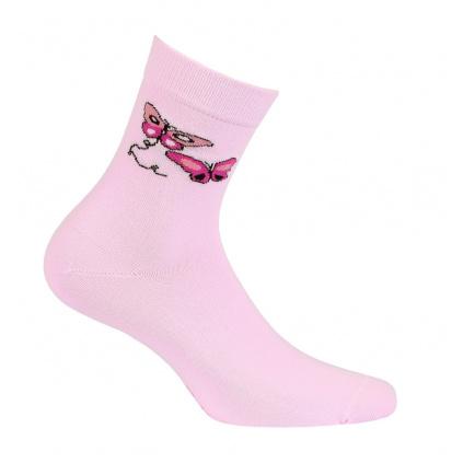 Dívčí ponožky se vzorem WOLA MOTÝLI růžové