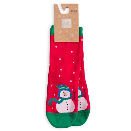 Dětské ponožky se zimním motivem WOLA SNĚHULÁK červené