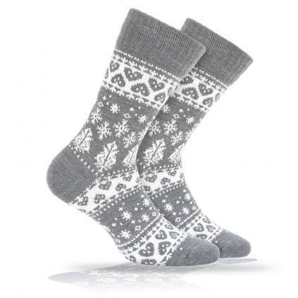 Vlněné ponožky WOLA SRDÍČKA šedé