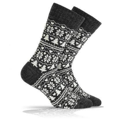 Vlněné ponožky WOLA NORSKÝ VZOR černé