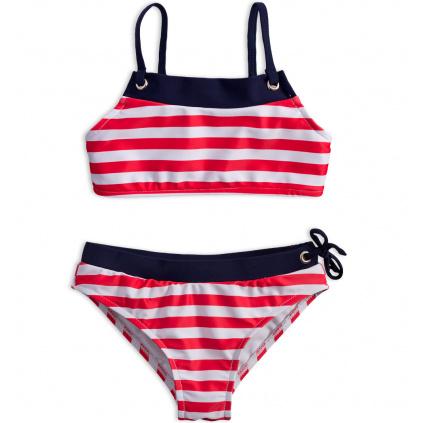 Dívčí plavky KNOT SO BAD PROUŽKY červené