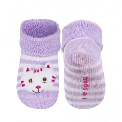Kojenecké ponožky s chrastítkem SOXO KOČIČKA fialové