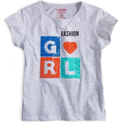 Dívčí tričko s flitry LOSAN GIRL FASHION šedý melír