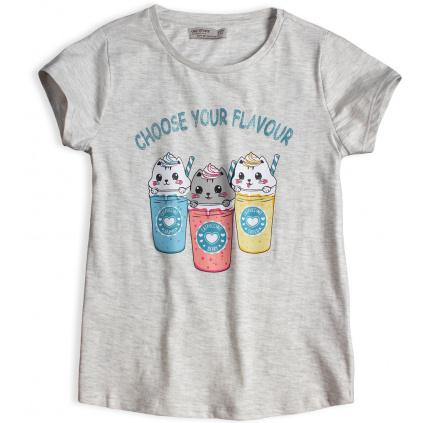 Dívčí tričko GLO STORY CHOOSE YOUR FLAVOUR šedé