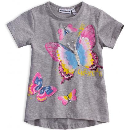 Dívčí tričko MIX NMATCH MOTÝL šedé