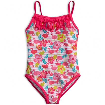 Dívčí plavky vcelku KNOT SO BAD PLAMEŇÁCI růžové