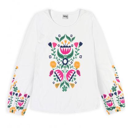 Dívčí top NANAI FLOWERS bílý
