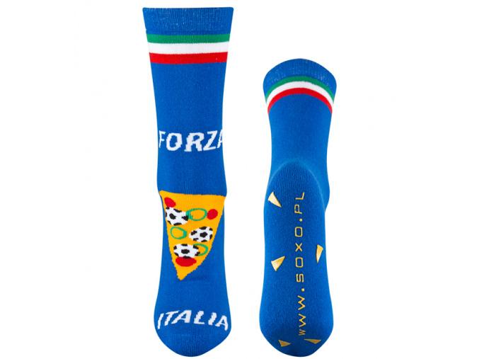 Froté ponožky SOXO PIZZA modré