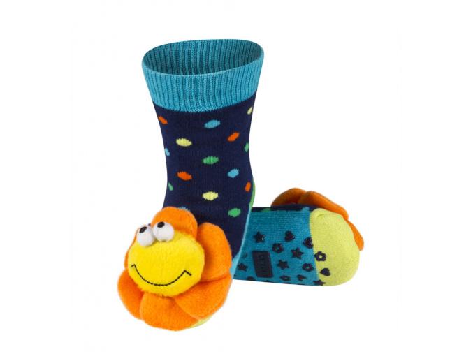 Ponožky s chrastítkem KYTIČKA tmavě modré