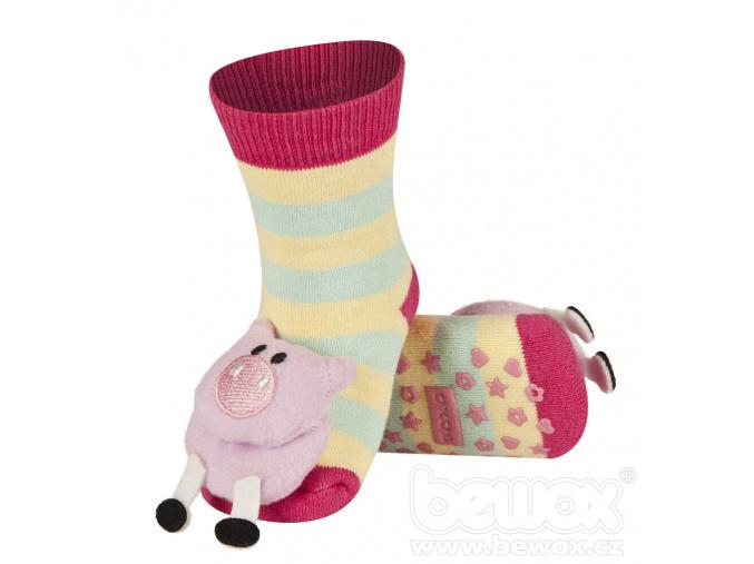 Kojenecké ponožky s chrastítkem PRASÁTKO