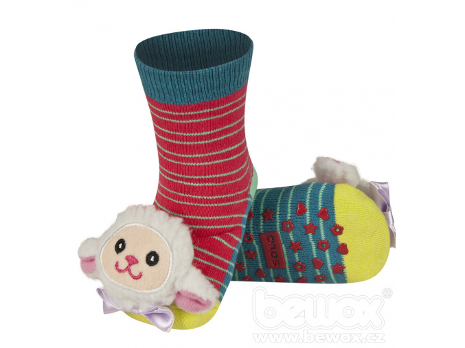 Ponožky s chrastítkem SOXO OVEČKA červené