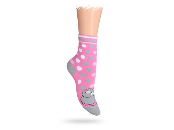 Dětské ponožky ABS vzor MYŠKA růžové