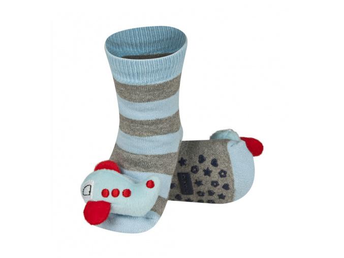 Ponožky s chrastítkem LETADLO světle modré