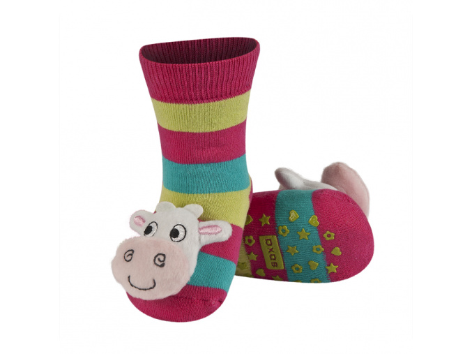 Kojenecké ponožky s chrastítkem KRAVIČKA
