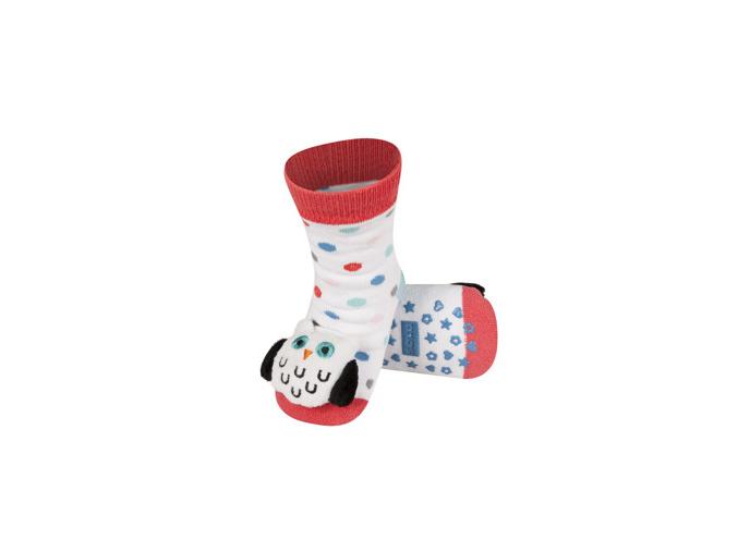 Ponožky s chrastítkem SOVA bílé