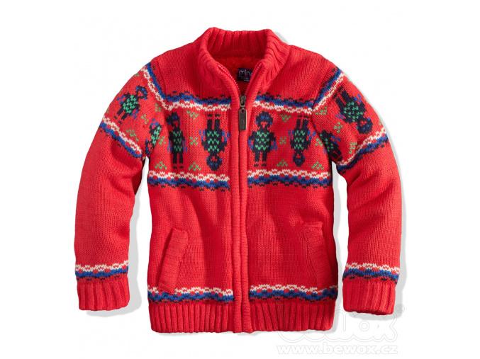 Chlapecký zateplený svetr Minoti ROBOT červený