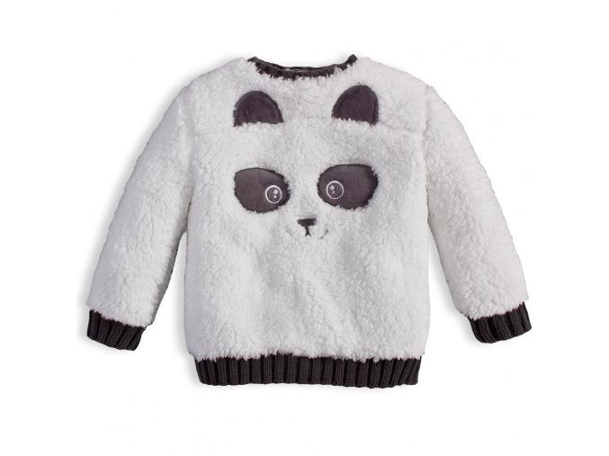 Dětská chlupatá mikina KNOT SO BAD PANDA bílá