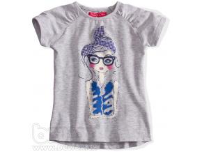 Dívčí tričko s krátkým rukávem Funky Diva BLUES šedé