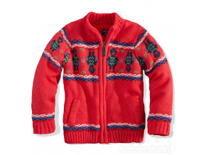 Kojenecký chlapecký zateplený svetr ROBOT červený