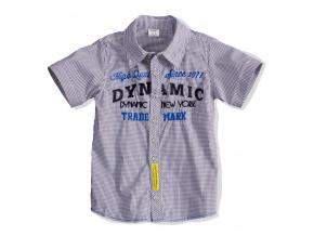 Dětská košile krátký rukáv DIRKJE DYNAMIC žlutá nášivka
