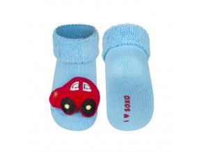 Kojenecké ponožky s chrastítkem SOXO AUTÍČKO modré
