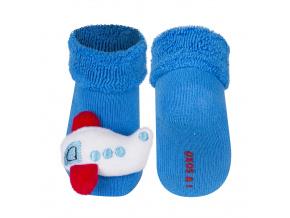 Ponožky s chrastítkem SOXO LETADLO modré