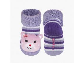 Ponožky s chrastítkem SOXO KOČIČKA fialová