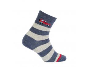 Chlapecké ponožky WOLA PRUHY, ČERVENÉ AUTO