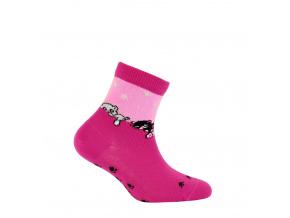Dívčí vzorované ponožky GATTA KOČIČKY růžové