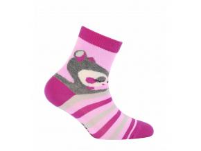 Dívčí vzorované ponožky GATTA ZVÍŘÁTKO růžové