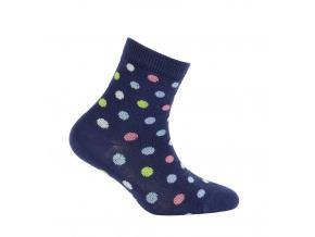 Dívčí ponožky WOLA PUNTÍKY tmavě modré