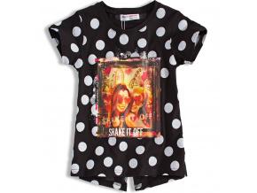 Dívčí tričko MINOTI SHAKE černé s puntíkem