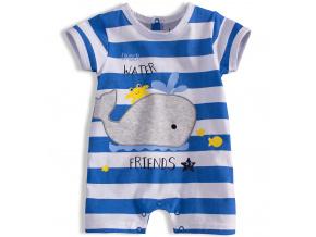 Letní kojenecký overal KNOT SO BAD WHALE světle modrý