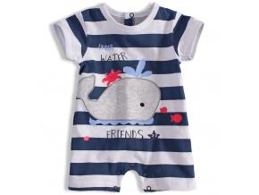 Letní kojenecký overal KNOT SO BAD WHALE tmavě modrý