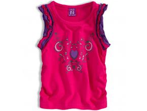 Dívčí tričko bez rukávů DIRKJE HEART tmavě růžové