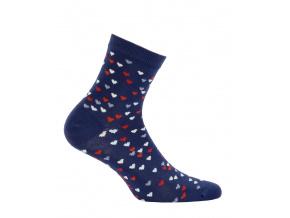 Vzorované dívčí ponožky GATTA SRDÍČKA modré