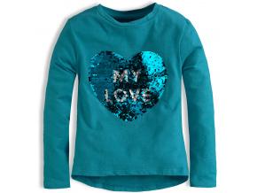 Dívčí triko flitry měnící obrázek KNOT SO BAD SRDCE modré