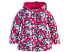 Dívčí zimní bunda LEMON BERET KYTIČKY růžová