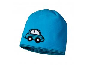 Dětská fleecová čepice YETTY AUTÍČKO modrá