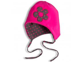 Dívčí fleecová čepice YETTY KYTIČKA neon růžová
