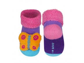 Kojenecké ponožky s chrastítkem MOTÝLEK fialové