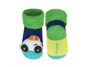 Kojenecké ponožky s chrastítkem AUTÍČKO tmavě modré