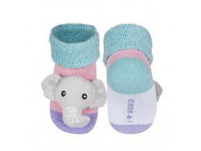Kojenecké ponožky s chrastítkem SLONÍK růžové